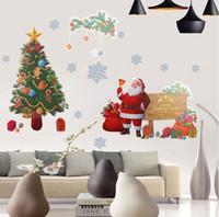 yılbaşı vinili pencere çıkartmaları toptan satış-Noel Duvar Sticker DIY Noel Baba Geyik Hediyeler Ağacı Pencere Duvar Çıkartmaları Çıkarılabilir Vinil Duvar Çıkartmaları Yılbaşı Dekoru