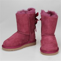 Wholesale canvas children boot for sale - Australia Brand U G kids Fur Snow Boots boys girls Designer Shoes Waterproof Winter Keep Warm Bowknot children Mid calf Boots Outdoor sale