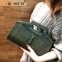 echtes krokodil-handtasche grün großhandel-XMESSUN Kette Clutch Bag Krokodil-Muster aus echtem Leder für Dame Handtasche Mode Schulter Messenger Bag Green Dropship F102