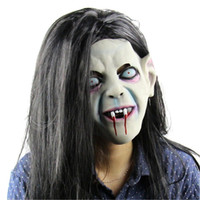 Wholesale full zombie masks online - Halloween Scary Mask Emulsion Skin Hairs Latex Creepy Toothy Zombie Ghost Horror Sadako Pullover Horror Party prop FFA800