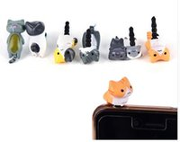 Wholesale Cute Anti Dust Plugs - hot Super Cute cell phone Dust Plug Lucky Cute Cheese Cats Jack 3.5mm Anti dust Dirt-resistant Earphone Plug
