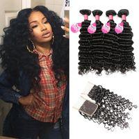 Wholesale buy human hair bundles resale online - Mink Hair A Peruvian Deep Wave Bundles With Closure Buy Cheap Brazilian Malaysian Indian Human Hair Weave Bundles With Closure