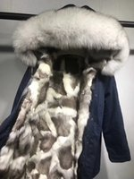 Wholesale Contrast Pictures - Live pictures white fur trim Mr Mrs itlay grey white silver fox fur lining navy blue long parkas Mr Mrs furs snow coats