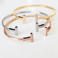 Wholesale cuff bracelets online - Love Bracelets Bangles Double T Shape Nails Cuff Bracelet jewelry Women and Men Bracelet