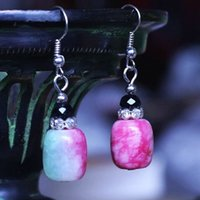 Wholesale Tibetan Jade Earrings - Natural Stone Earrings Ethnic Tibetan Silver Earrings Luxury Brand Design Best Friend Earrings For Women Fashion Party