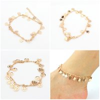 Wholesale rose gold anklets - Hot Sell Gold Color Rose Flower Palm Hand Smile Face Anklet For Women Foot Jewelry 3 Styles Drop Shipping D940L