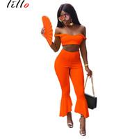 dos piezas de moda callejera al por mayor-Moda Casual Set de dos piezas mujeres atractivas Sling Ruffle Flare Pants Traje de moda Sexy temperamento High Street Comfort de alta calidad