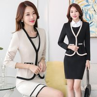 Wholesale winter dress uniform - 2018 Office Dress Set Uniform Full Sleeve Blazer+Sleeveless Dress 2 Pieces Businesss Dress Suit Winter Spring ow0408