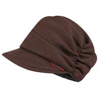 ingrosso cappellino marrone marrone-Berretto da donna con elastico in cotone lavorato a maglia cappello stile strillone marrone grigio giallo scuro rosso
