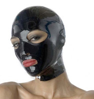 Wholesale Carnival Eye Masks - Hot Sale Limit Solid Time Real New Hot Sexy Women Latex Hoods Open Eyes&mouth Mask Monochrome Common Hood Female