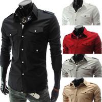 Wholesale shirt epaulets - New arrival Men Slim Casual Long Sleeve Shirt Korean Pure Color fashion epaulette double pocket Epaulets