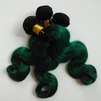 örgü örgü toptan satış-Brezilyalı Vücut Dalga Virgin İnsan Saç Uzantıları 3 Demetleri Iki Ton 1B / yeşil Omber 8-26 inç saç çift atkı seksi Hint remy Saç Örgüleri