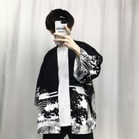 Wholesale mens japanese jacket - 2018 Summer Mens Kimono Japanese Clothes Streetwear Casual Kimonos Jackets Harajuku Japan Style Cardigan Outwear