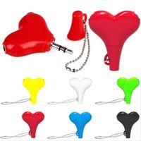 Wholesale tablet lovely online – Lovely Heart Way Audio Splitter mm Male to Female Earphone audio splitter adapter for mobile phone mp3 speaker tablet pc