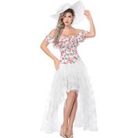 fantasia de vestido de esparguete branco venda por atacado-Branco Floral Sexy Espartilhos E Corpetes Gótico Corset Vestido Vitoriano Steampunk Trajes Burlesque Outfit Partido KorsePara Mulheres