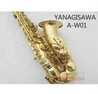 botones musicales al por mayor-Instrumento musical de alta calidad YANAGISAWA A-W01 Latón chapado en oro Saxofón profesional Alto Eb Tune Shell Botón Saxofón con boquilla, estuche