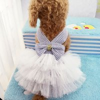 Wholesale dogs tutu clothes resale online - Pet Summer Dogs Harness Skirt Clothes Small Dog Dress Pet Tutu Dress Wedding Dress