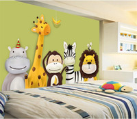 Wholesale Household Pictures - Custom Mural Wallpaper Children's Room Bedroom Cartoon Theme Animals Painted Background Pictures Wall Decor Kids Wallpaper Roll