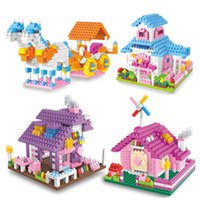 Wholesale magnetic toys for kids building - Children Puzzle Games Granule Building Blocks Miniature House Assembled Toys DIY Souptoy Splicing Gift For Kid 10 5hy W