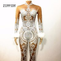 Wholesale nude women costumes online - Sexy White Lace Nude Rhinestone Jumpsuit Female Singer Sexy Stage Wear Bodysuit One Piece Costume Glisten Stones Stretch Outfit