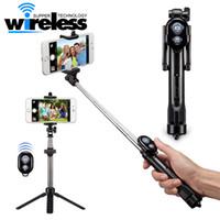 tripé vara venda por atacado-Selfie vara tripés selfie temporizador bluetooth selfie monopods extensível auto retrato vara remoto para android iphone smartphones
