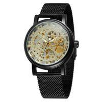 winner mens skeleton mechanical watch UK - Winner Punk Retro Casual Mens Watches Top Brand Luxury Full Steel Skeleton Mechanical Watches Free S
