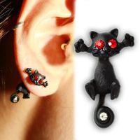 Wholesale cat ear tail - 2015 New 1PCS Womens Black Cat Style Punk Rhinestone Long Tail Ear Studs Earring