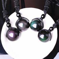 pedra natural do arco-íris venda por atacado-Pedra Natural Preto Obsidian Rainbow Eye Beads Transferência de Bola Sorte Amor Pingentes Colares Para As Mulheres Homens Casal Presente