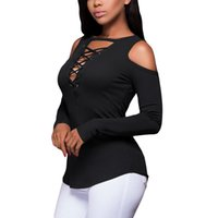 Women Sexy Off Shoulder Ribbed Blouse Eyelets Lace Up Deep V-Neck Shoulder  Cut Out Long Sleeve T Shirts Knitted Casual Autumn Tops MT1845 e40445ed4