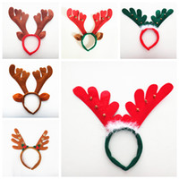Wholesale reindeer head for sale - Group buy 6styles christmas Reindeer antler Hairband with Bell Deer Horn headbands Ear head Hoops Halloween Party festival kids cosplay props FFA839
