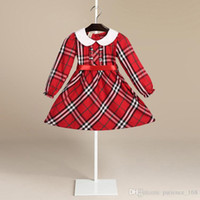 Wholesale Cotton Ribbons - 2 color Hot sell 2018 NEW arrival spring Girls Kids long Sleeve dress kids causal high quality cotton baby kids lapel plaid dress free ship