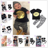 Wholesale Stripes Pajamas - 40 Style Baby Boys Girls Sets INS Fox Stripe Letter Suits Kids Infant Casual Short Sleeve T-shirt +Trousers 2pcs Sets Newborn Pajamas