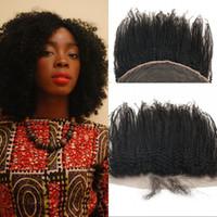 hızlı nakliye boyası toptan satış-Afro Kinky Kıvırcık 13x4 Dantel Frontal Malezya Perulu Moğol İnsan Saç Doğal Renk Boyalı Hızlı Kargo FDSHINE Olabilir