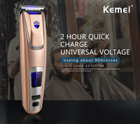 Wholesale Cordless Charging - Kemei PG-102 Cordless LED Display Hair Clipper Lithium-ion Battery Hair Trimmer USB Adapter Charge Beard Trimmer With Headlight 110-220V