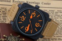 Wholesale bells mm - New Style Men's Automatic Mechanical Limited Edition Watch Bell Aviation Men Sport Dive Watches Black Case BR01-92 Black Rubber wristwatch