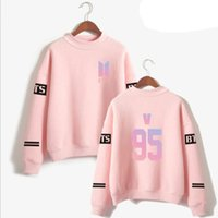 corea del pop al por mayor-KPOP BTS Love Yourself Album Pink Sweatshirt Mujeres Corea Idol popular Bangtan Boy Long-Sleeved Pullovers Hoodies K-POP Ropa