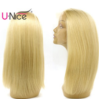 Wholesale long straight silky blonde hair - UNice Hair 613 Blonde Human Hair Lace Front Wigs Long Straight Wig For Black Women Brazilian Full Lace Human Hair Wigs Pre-plucked Wholesale