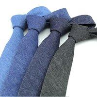 ingrosso accessori per abbigliamento maschile-6 cm solido cravatta da uomo in cotone cravatta uomo blu cowboy cravatta ascot accessori abito camicia collo affari per gli uomini