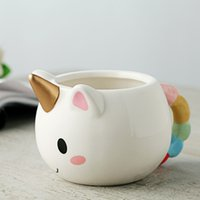 Wholesale Magical Coffee Cup - Cartoon Unicorn Mugs 3d Ceramic Coffee Cup Children Girl Creative Cute Wild Magical Horse Cup Magic Home Water Cups Xmas Gift