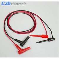 Wholesale banana plug test probe - 1Pair Banana Plug To Test Hook Clip Probe Cable For Multimeter #S018Y# High Quality