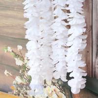 ingrosso orchidee lunghe fiori-Fiori secchi 1 metro di lunghezza Elegante fiore di seta orchidea Vite bianco Glicine Ghirlanda Ornamento per la decorazione del giardino di nozze di festival