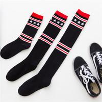 kızlar için yılbaşı çorapları toptan satış-Çocuklar Çorap 2018 Sonbahar Kış Orta Ve Yüksek Çorap Çocuk Genç Pamuk Çorap Çocuklar Çocuklar Için Noel Şerit Yıldız Sıcak Çorap
