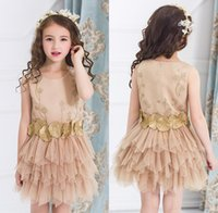 Wholesale Dresses 12 Years Old Girls - Fancy Flower Girl Dress with Appliques Sleeveless Knee Length A-Line Gown with Ribbon Bows For Christmas Pageant Gowns 0-12 Years Old