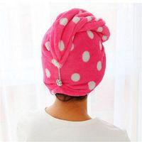 secador de pelo de onda al por mayor-Toalla de señora Hair Wrap Towel Wave Toalla de secado rápido Turbante Twist Gorro de secado Botón de bucle Sombrero toalla de baño