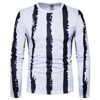 Wholesale yard long print - 2018 Spring new fashion large size stripe printing wholesale foreign trade supply men's long sleeve t - shirt European yards