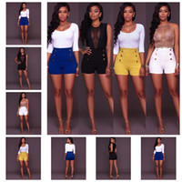 soporte de cintura blanca al por mayor-Moda europea color simple cintura alta botón sexy cremallera pantalones cortos pantalones blancos, amarillos, negros, azul soporte mixto