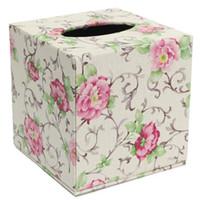 салфетка коробка кожа покрытие оптовых-Durable Room Car PU Leather Square Tissue Box Paper Holder Case Cover Napkin Size: 13.8 * 13.8 * 13cm 6color