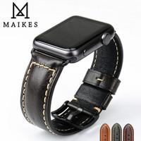 Wholesale genuine apple accessories - MAIKES Vintage Genuine Leather Changeable Apple Watch Strap Accessories 38mm 42mm Apple Watch band series 3 2 1 iWatch Bracelet