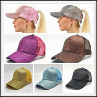 Wholesale fitted trucker hats - 10 Colors CC Glitter Ponytail Ball Cap Messy Buns Trucker Ponycaps Plain Baseball Visor Cap CC Glitter Ponytail Snapback CCA9335 20pcs