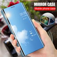 étui en silicone transparent galaxy achat en gros de-Cas de Smart View de luxe pour Samsung Galaxy S9 S8 Plus S7 S6 bord Flip Stand cas de couverture pour Samsung J7 J5 J3 A7 A3 Note 8 cas